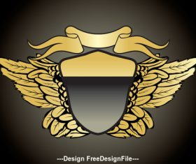 Gold heraldry and gold ribbon vector