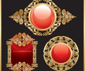 Gold vitnage decorative frames vector