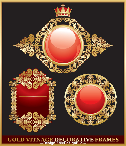 Gold vitnage decorative frames vector