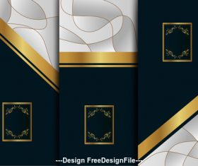 Gold white background art deco template vector