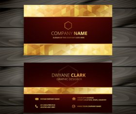 Golden premium business card design vector