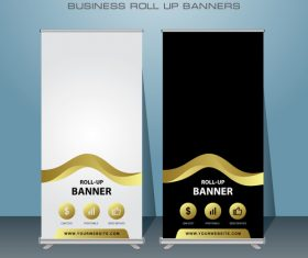 Golden stripes and white and black roll banner design vector template