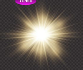 Golden sun glow light effect vector