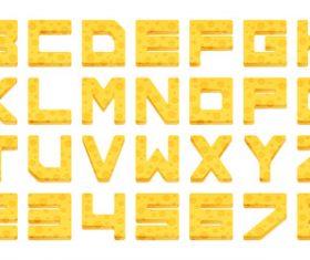 Golden yellow alphabet vector