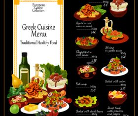 Greek cuisine menu vector