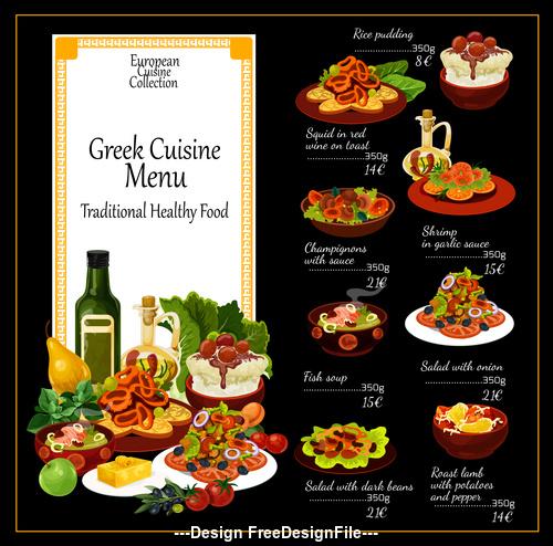 Greek cuisine menu vector