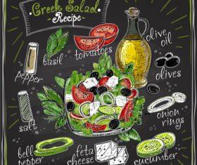 Greek salad reciept menu vector