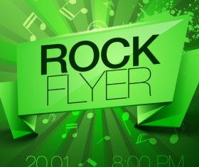 Green background Rock festival flyer vector