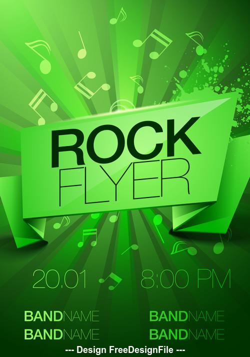 Green background Rock festival flyer vector