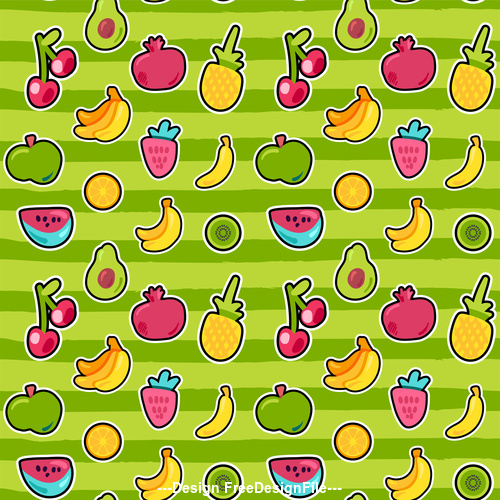 Green background and fruit seamless patterns vector