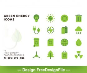 Green energy flat color vector