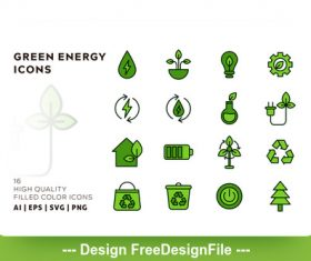 Green energy outline vector