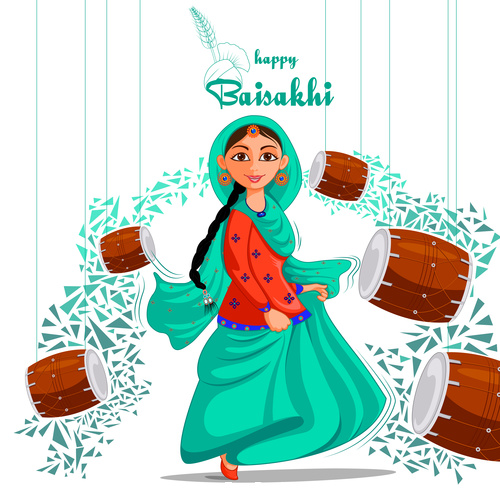 Greetings background for Punjabi New Year festival vector