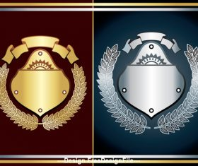 Grey and gold heraldry vector