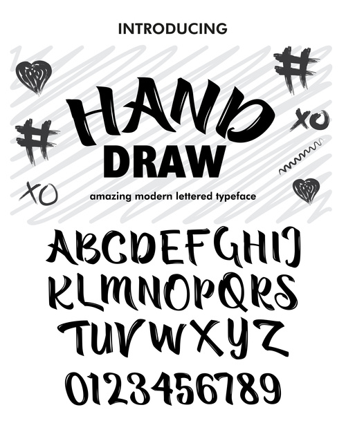 Hand Draw Style script font vector