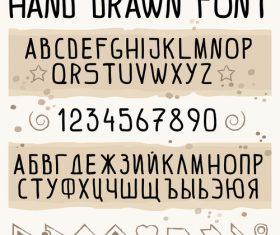 Hand drawn font latin and cyrillic vector
