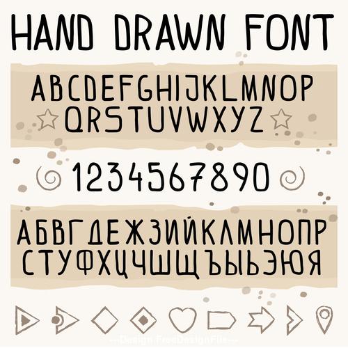 Hand drawn font latin and cyrillic vector