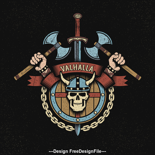 Hand drawn viking design elements vector