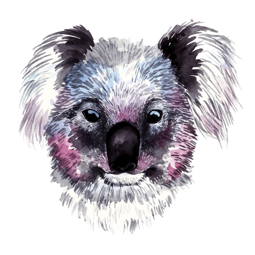 Hand drawn watercolor animals vector