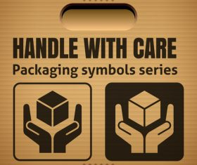 Handle with care packaging symbol vector illustration
