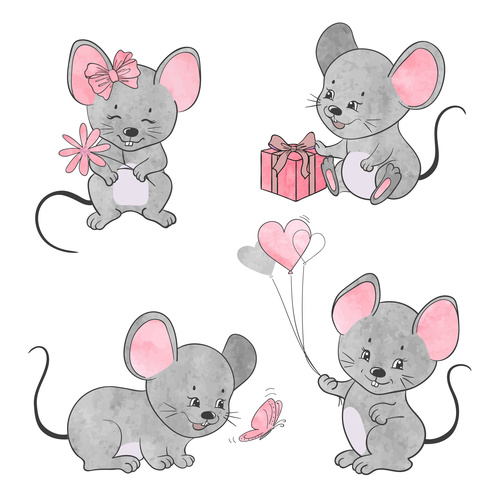 Happy 2020 rat cartoon new year vector