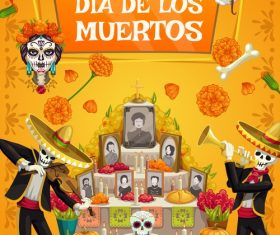 Happy Mexico dead day vector