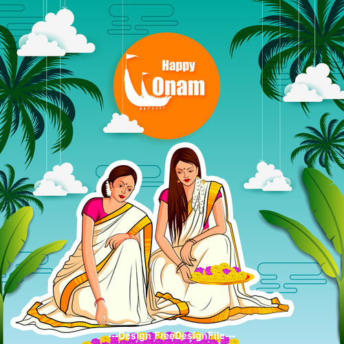Happy Onam Indian vector