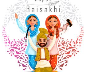 Happy baisakhi festival vector