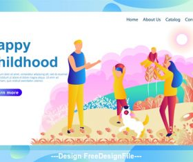 Happy childhood flat banner vector
