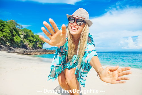 Happy girl and sea with beach stock photo