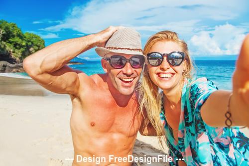 Happy summer boliday beach stock photo