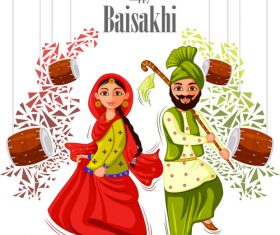 Happy vaisakhi celebrated in punjab India vector