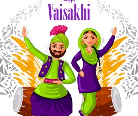Happy vaisakhi festival vector