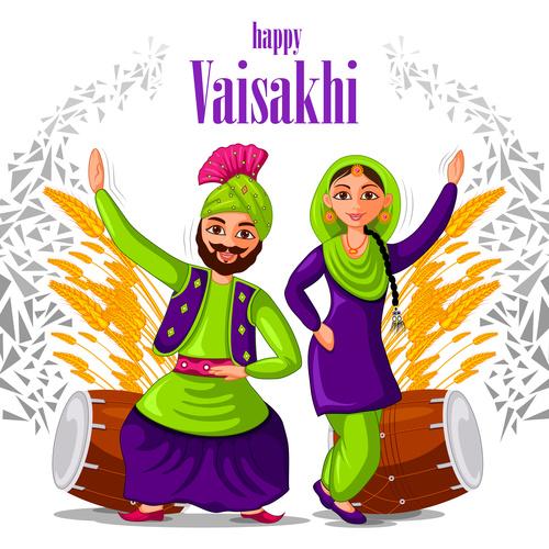 Happy vaisakhi festival vector
