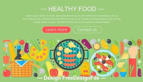 Healthy food modern flat design concept vector
