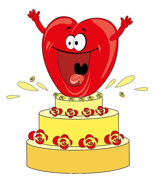Heart and cake vector