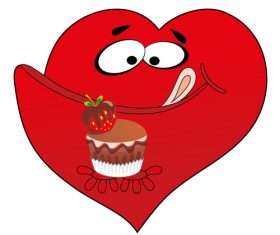 Heart cartoon eating food vector