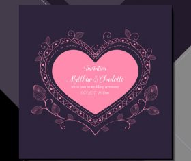 Heart shaped wedding invitation card vector