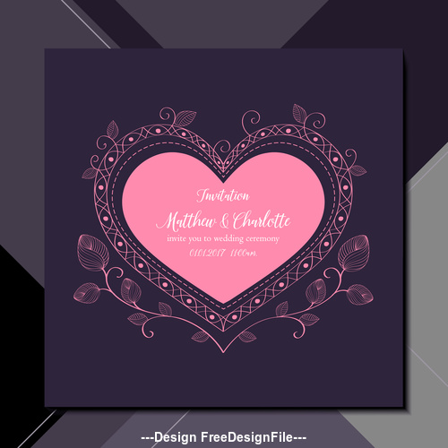 Heart Shaped Wedding Invitation Card Vector Free Download