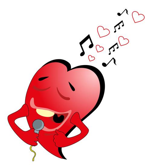Heart singing vector