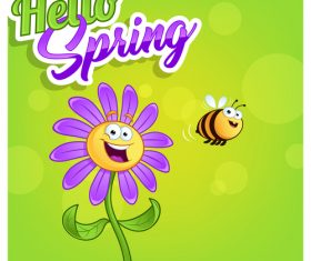Hello spring cartoon flowers and bee vector