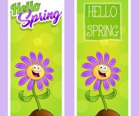 Hello spring flowers cartoon vector