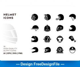 Helmet glyph vector
