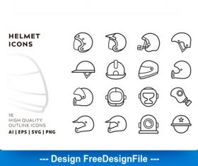 Helmet outline vector