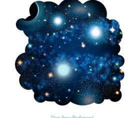 Hole with space and starry sky inside on white background vector