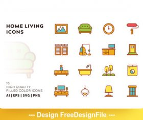 Home living filled color vector