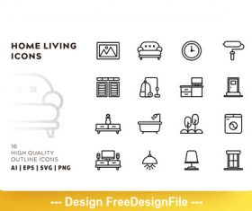 Home living outline vector