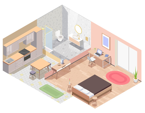 House interior 3d isometric vector
