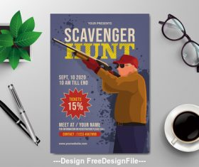 Hunting flyer design vector template