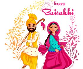 India cartoon happy vaisakhi festival vector